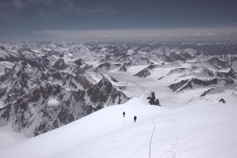 On the fourth day of climbing, they reached the summit ridge.