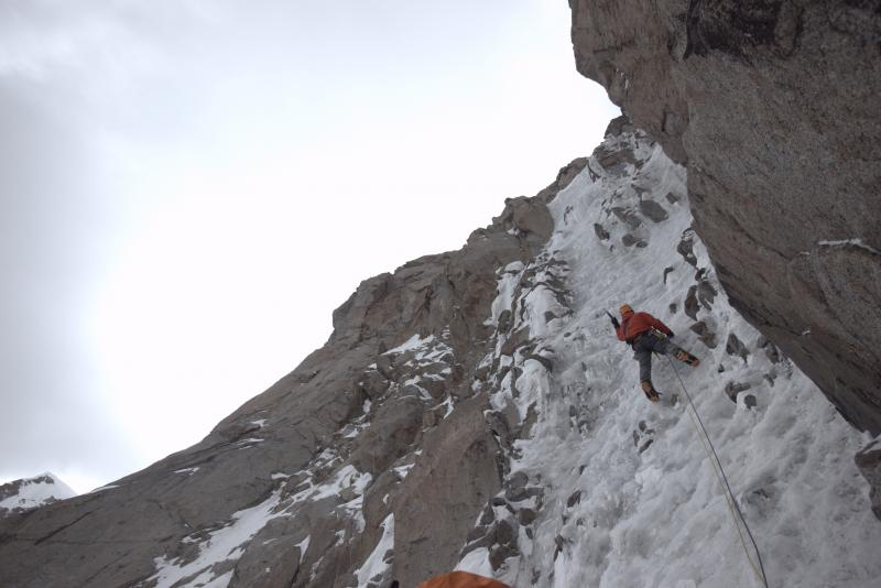 The climbers spent a month acclimatizing, familiarizing themselves with conditions, and warming-up by making the first ascents of four smaller peaks. The climbing required a diverse set of skills, including both ice climbing and rock climbing.
