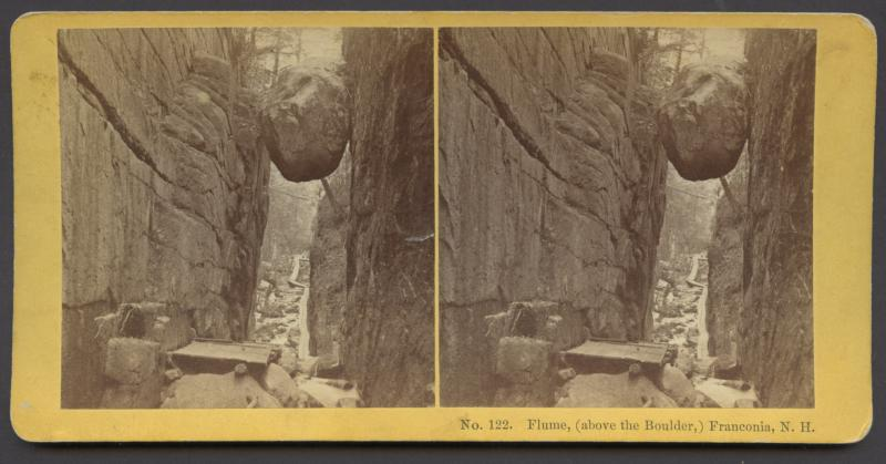 Flume Above the Boulder Franconia, Date unknown, Stereoview card image