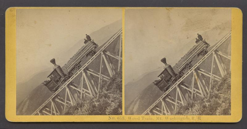 Wood Train Mount Washington Railroad, Date unknown, Stereoview card image