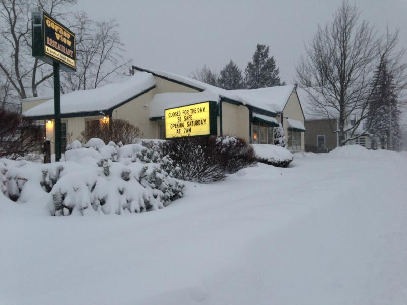 The Corner View Restaurant in Concord was open at 7am Saturday morning, despite the snow.