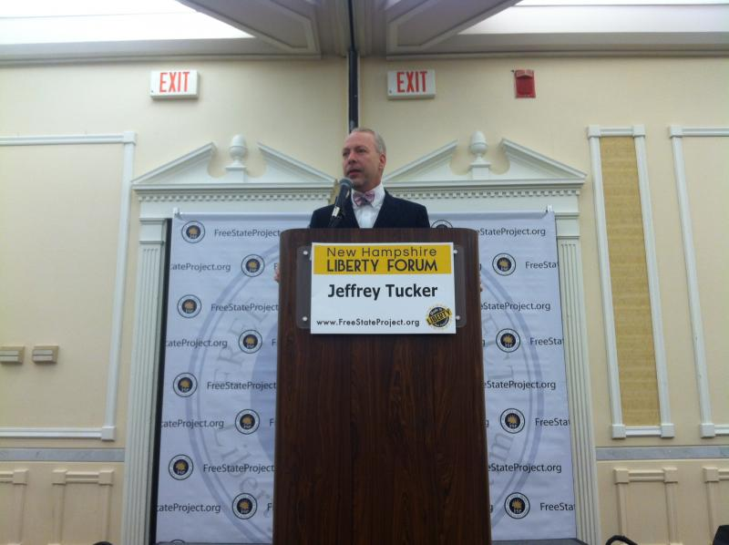 Author Jeffrey Tucker talks to the audience Friday morning at the Liberty Forum.