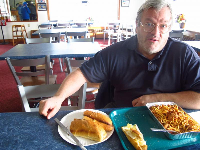 Civilian Navy Engineer Mike Hamby has eaten this spaghetti and meatball dish at Town Pizza for 30 years. He says his colleagues are anxious about pending budget cuts from budget sequestration.