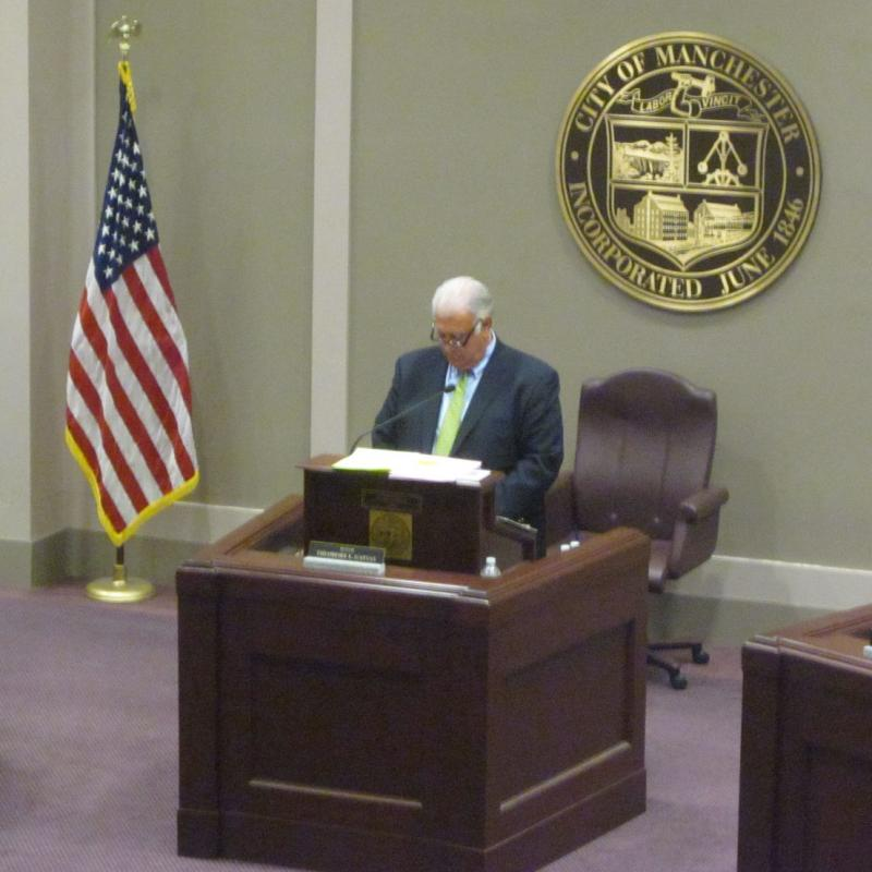 Mayor Gatsas presents his budget proposal to aldermen and department heads