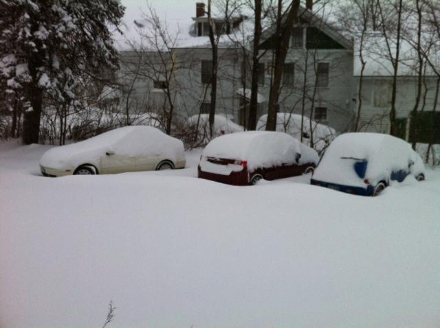 Snow-covered cars in Concord