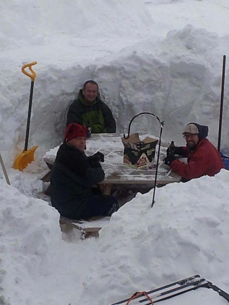 These gents were treated to some beer after helping a neighbor shovel.