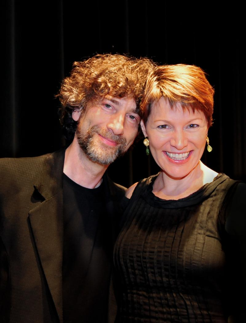 Neil Gaiman with host Virginia Prescott