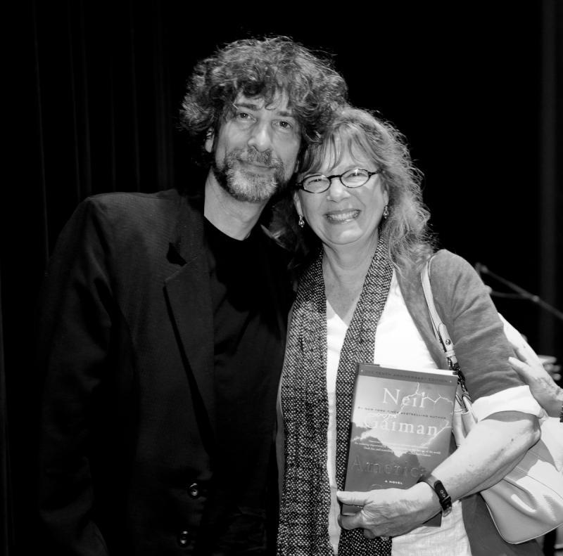 Neil Gaiman with NHPR President/CEO Betsy Gardella