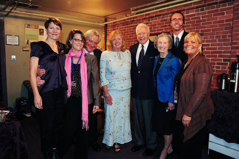 Host Virginia Prescott (L), with David McCullogh and Music Hall staff in the greenroom before the show.