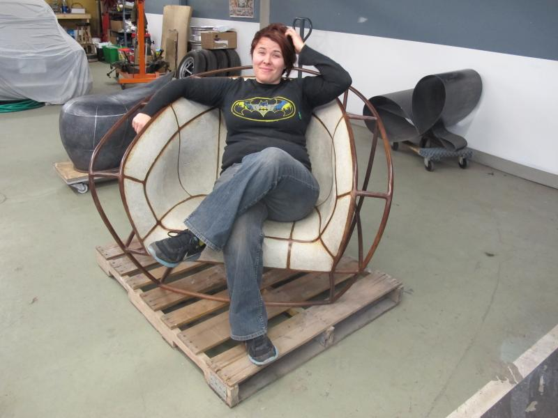 Vivian Beer relaxes on a recently finished cement piece