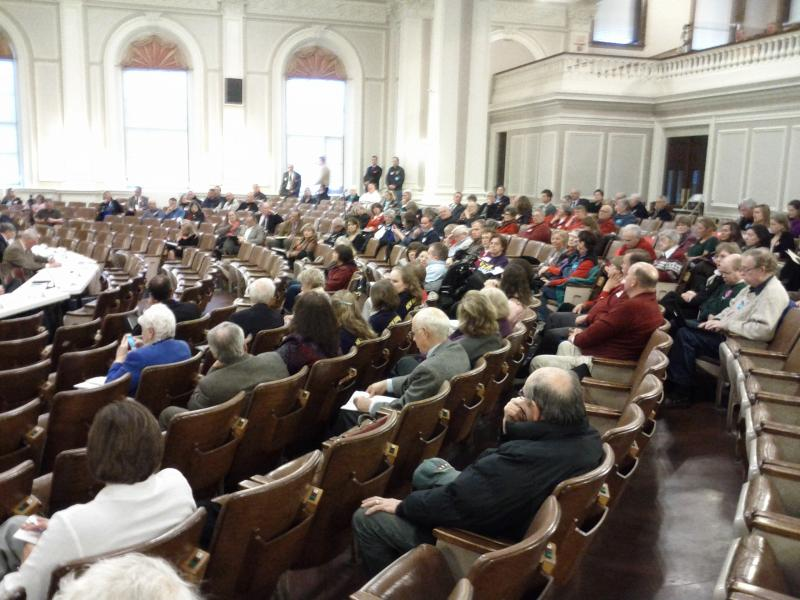 Interested members of the public filling the seats in the State House