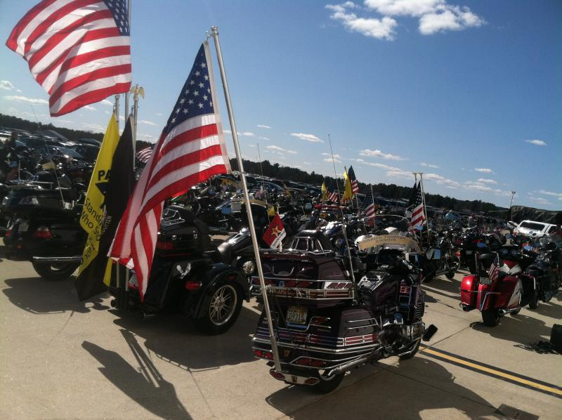 Motorcycles were lined up outside the hangar at the New Hampshire National Guard for the Welcome Home Vietnam Veterans event Saturday.
