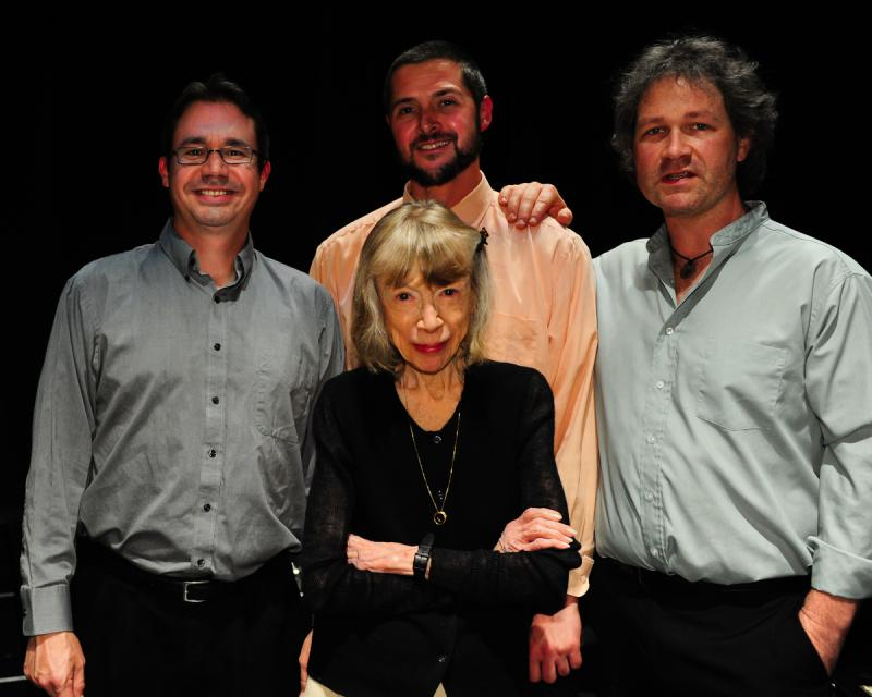 Joan Didion with the house band