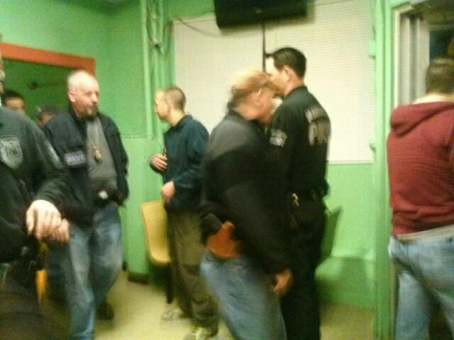Cell phone snap shot of ICE agents and MPD officers in El Mexicana, Manchester.