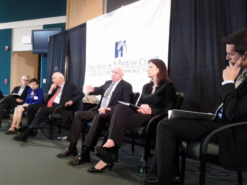 Sens. Ayotte and McCain were joined by former Sens. Gramm and Kerrey and Alice Rivlin, former Director, OMB at a panel discussion in Concord, Monday. NPR's Ari Shapiro (right) moderated.