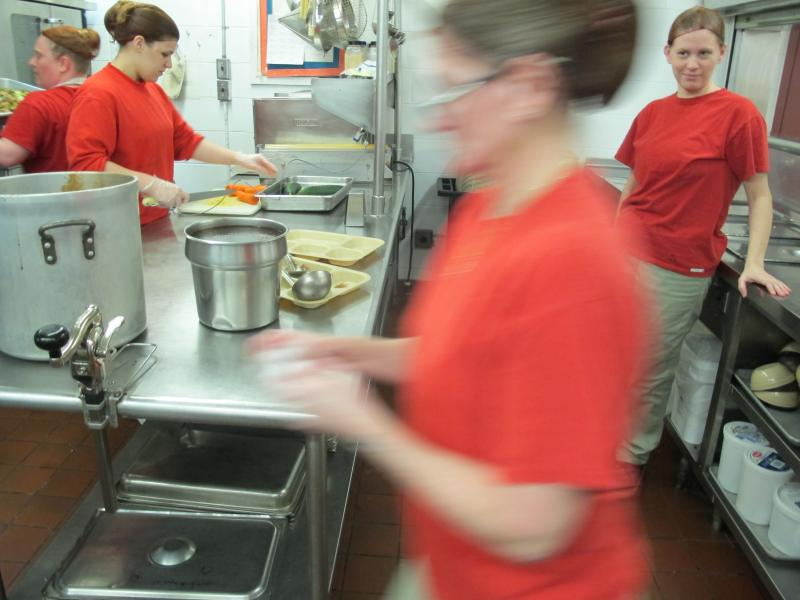 Women cook their own meals at the Goffstown Women's Prison,but unlike their male counterparts, they can not receive culinary certification.