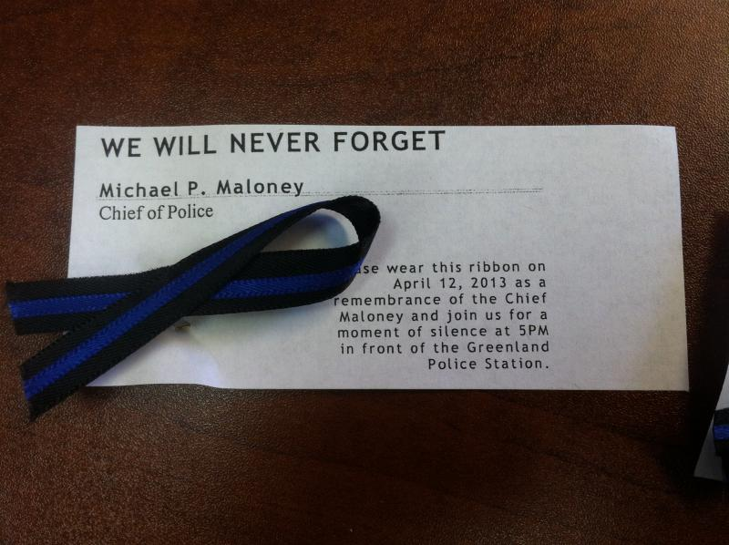 This is one of the ribbons people will wear Friday to honor Chief Michael Maloney.