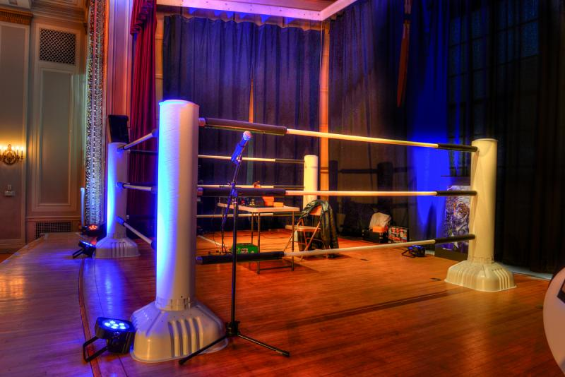 The wrestling ring set-up on stage