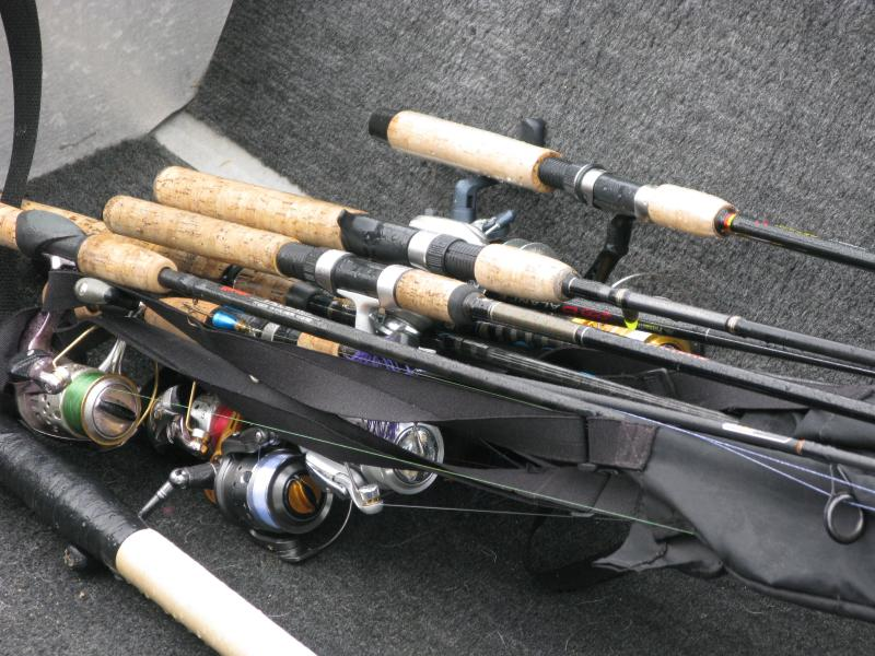 A collection of rods awaits use at Lee's Mills in Moultonborough.