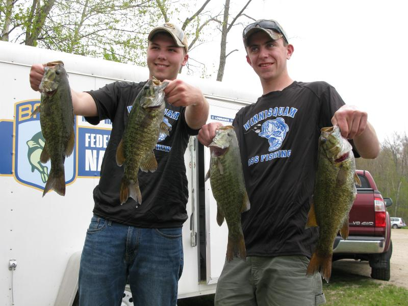 Winnisquam High School show off their haul at Thursday's first N.H. high school bass tournament.
