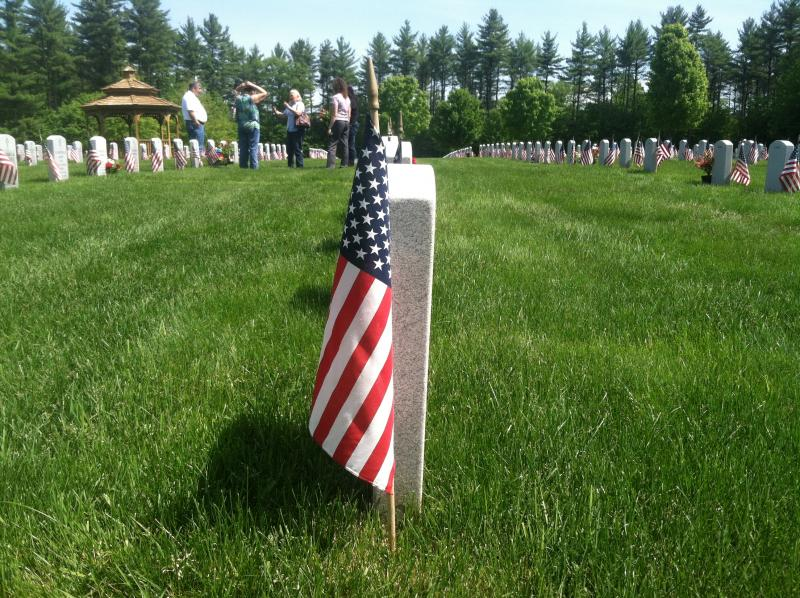 Flags were set next to each of the approximately 6,000 graves at the New Hampshire State Veterans Cemetery in Boscawen on Thursday.
