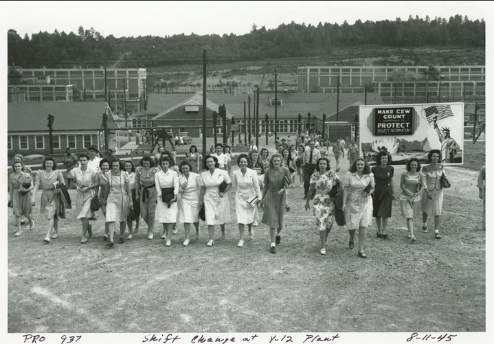 Shift change at the Y-12 plant, which boasted roughly 22,000 workers in the spring of 1945, many of them young women.