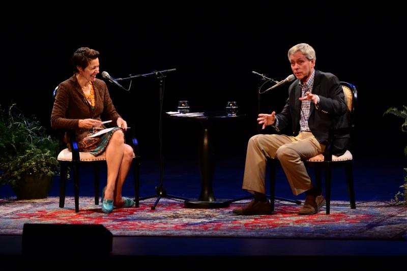 Host Virginia Prescott and Carl Hiaasen