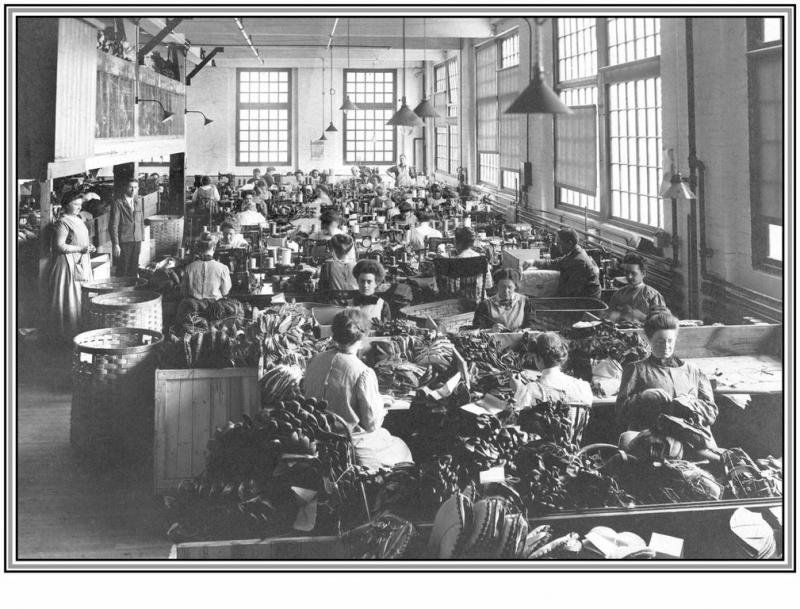 Archive photo of employees making baseball Mits at the Draper and Maynard Company