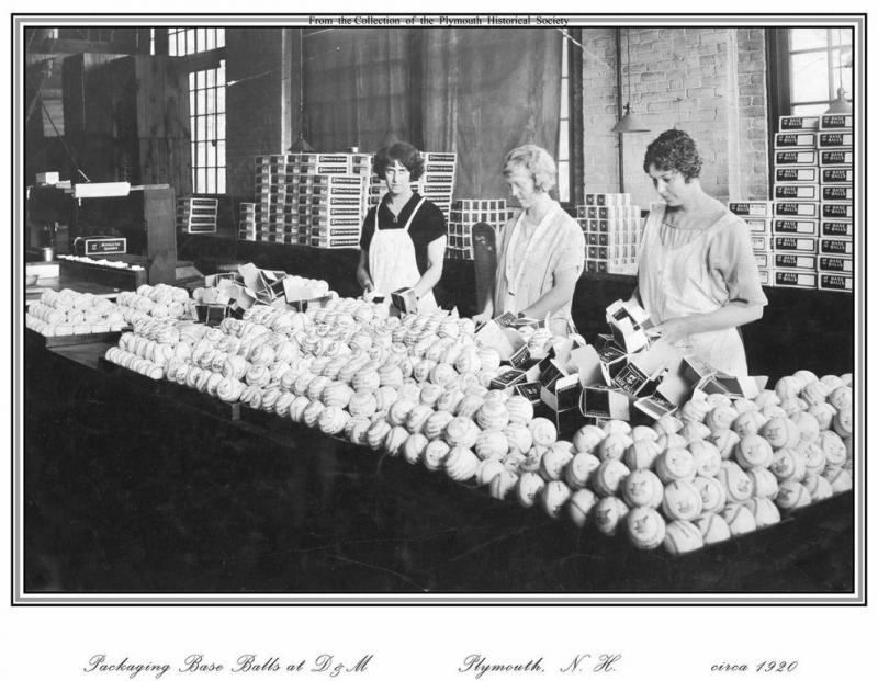 Archive photo of employees selling baseballs made at the Draper and Maynard Company