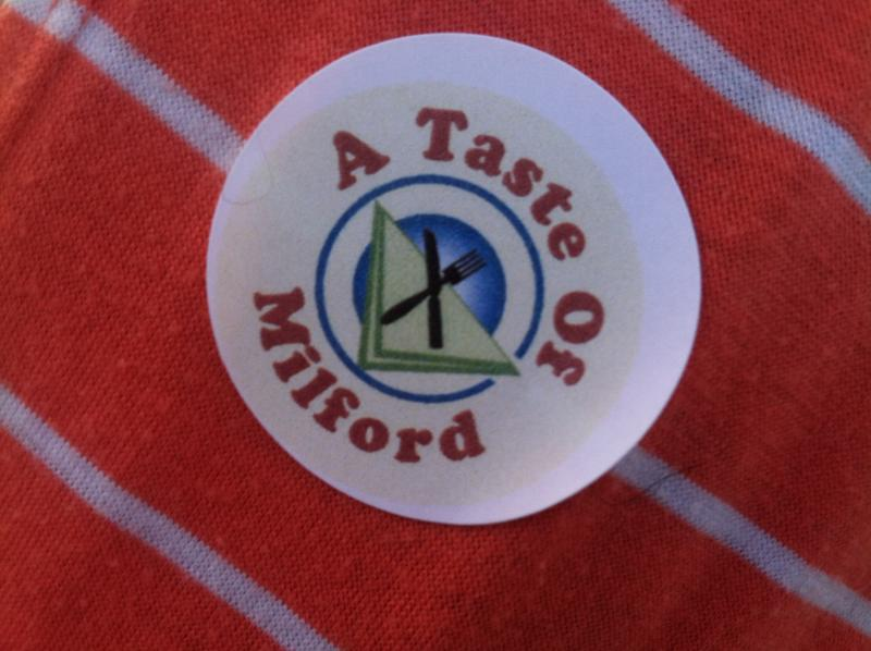 The official Taste of Milford sticker given to attendees.