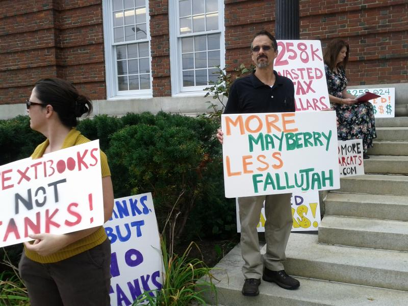 Protesters on Concord City Hall steps.