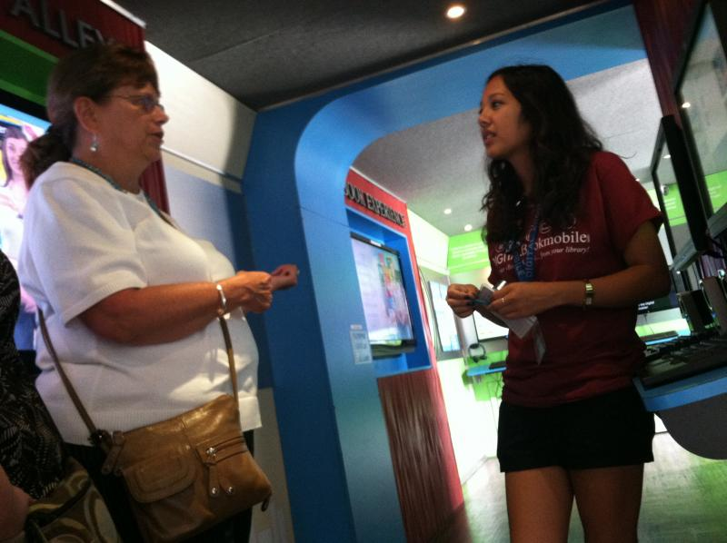 People can walk through the digital bookmobile to learn how to use the program.