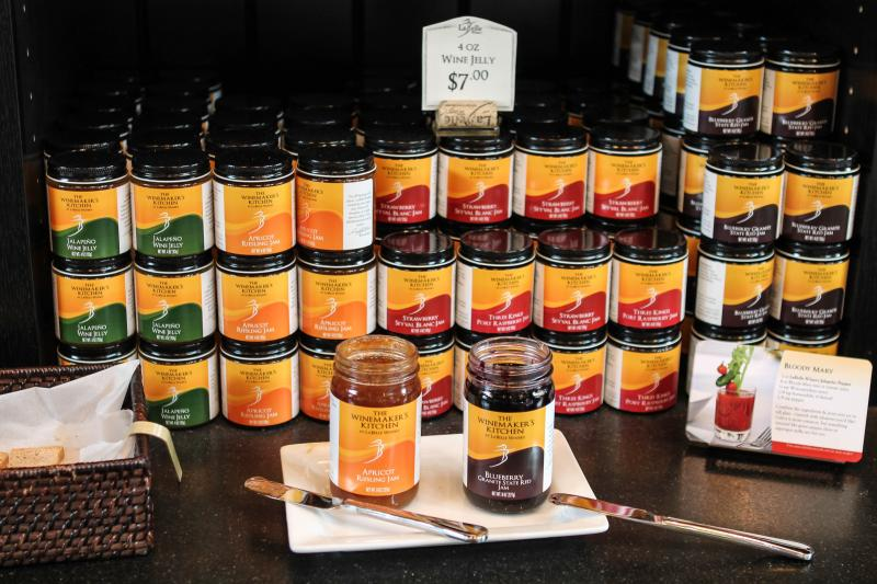 Several of the jams offered at LaBelle Winery.