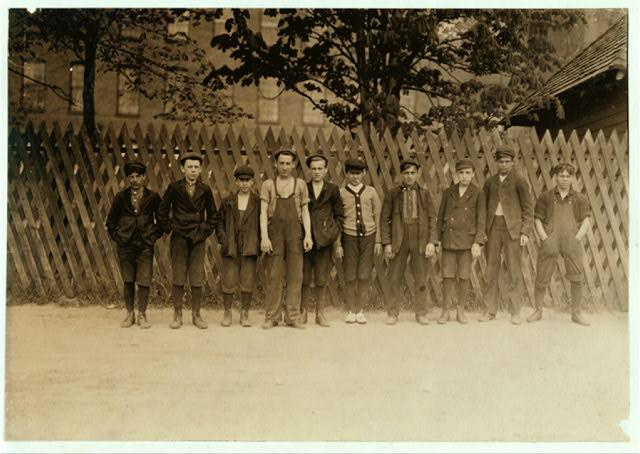 Group of boys who work in Suncook, NH Mills. A large corporation, employing 1200 hands.
