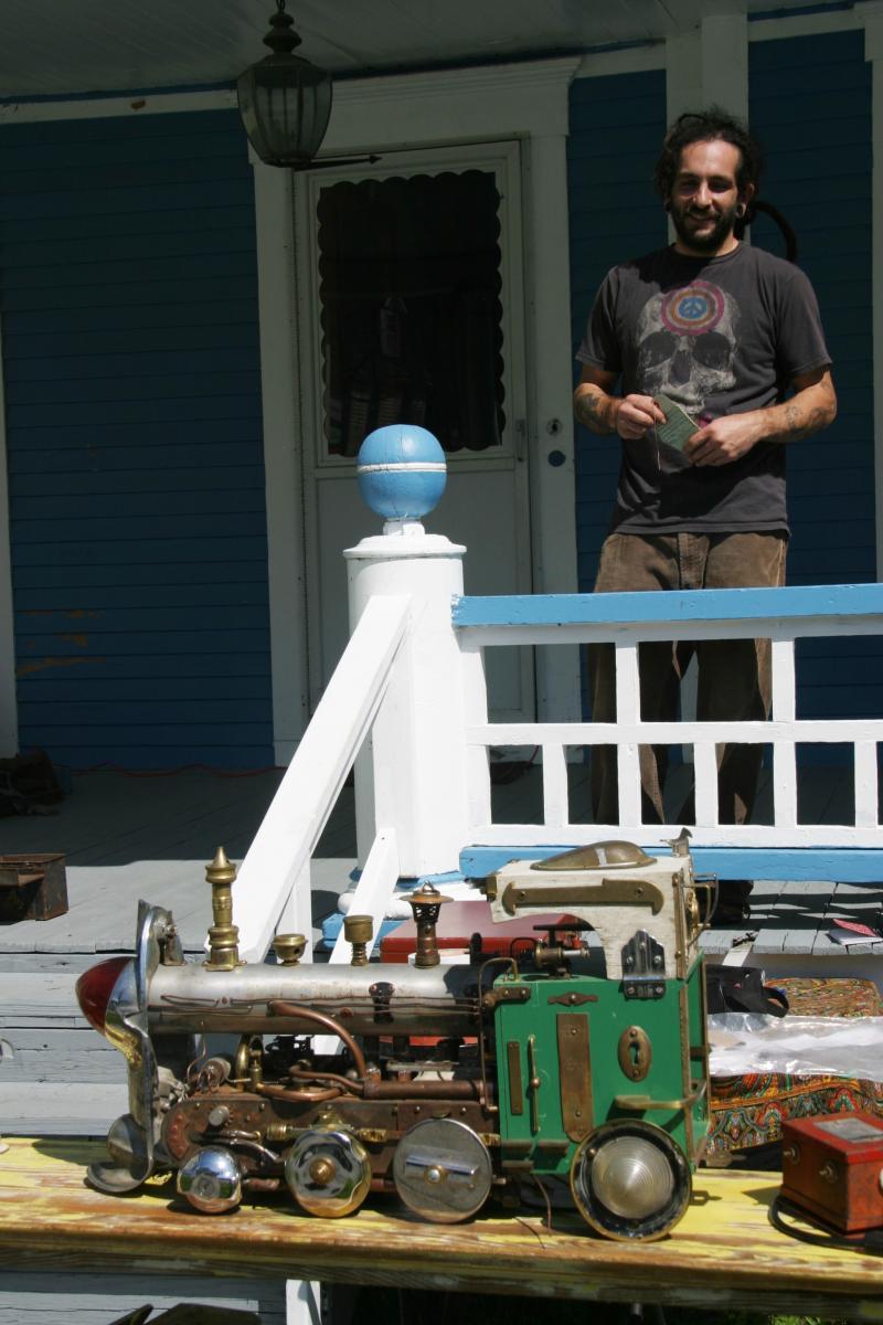 Steve Bahrakis and the locomotive of many parts.