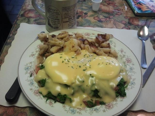 The Florentine Benedict, complete with home fries, at Julien's Corner Kitchen in Manchester.