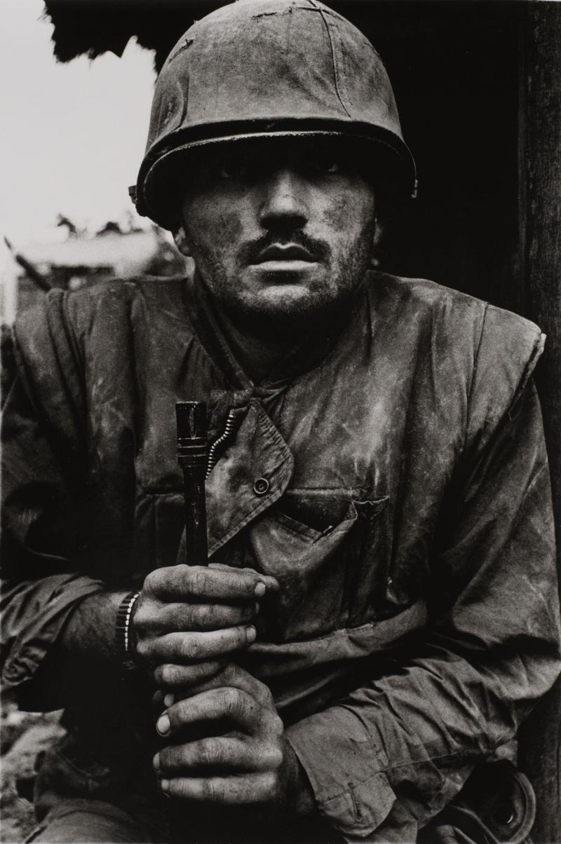 Shell-Shocked Marine, Hue Vietnam, 1968 (printed later), gelatin silver print, 24 x 20 in. Currier Museum of Art, Manchester, NH.