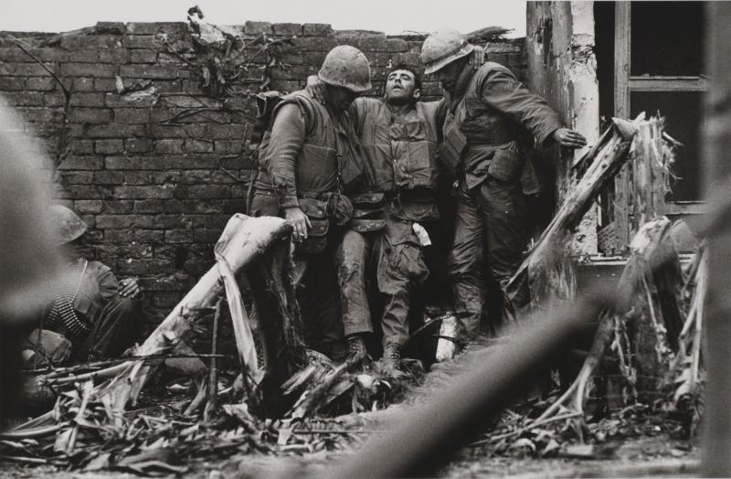 Wounded Soldier against Wall, Vietnam, 1968 (printed 1980s), gelatin silver print, 16 x 20 in. Currier Museum of Art, Manchester, NH.