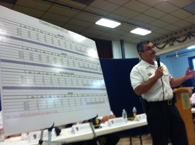 Chief David Mara goes over Manchester's crime numbers during a community meeting Thursday night.