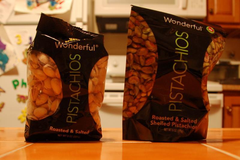 Pistachios with shells: 8 oz. Pistachios shelled: 6 oz