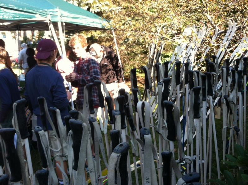 A sea of ski poles up for sale.