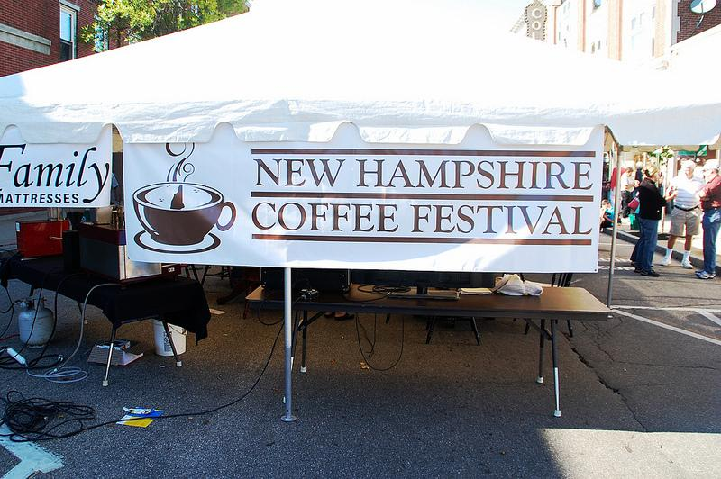 A sign on Laconia's Main Street for the New Hampshire Coffee Festival.