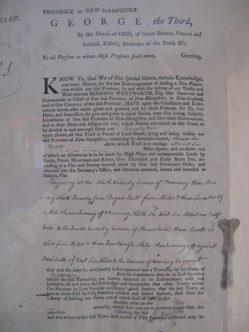 Original Charter of Warren, NH from 1763