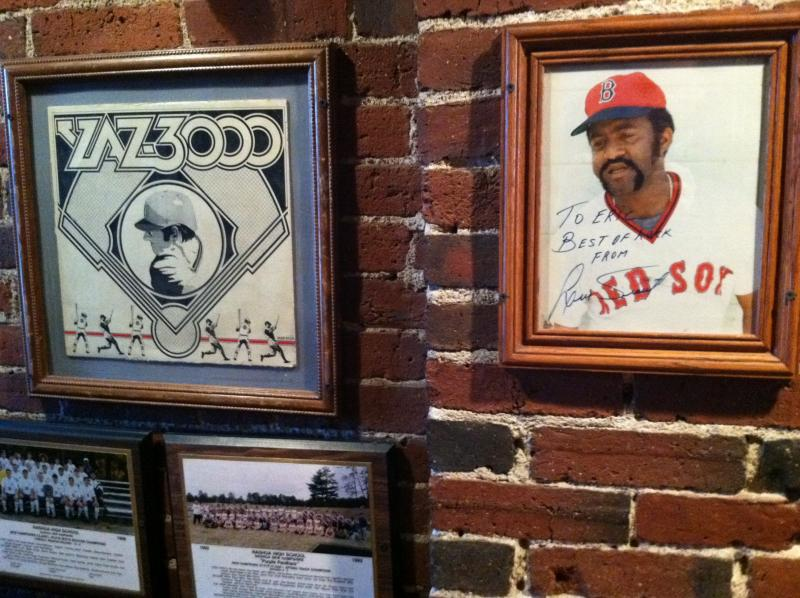 The walls of the Nashua Garden are covered with sports memorabilia.