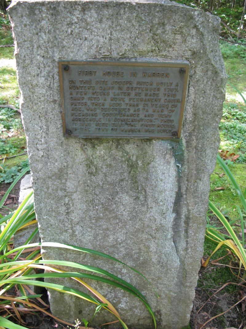 Plaque and stone at the site where the town's first resident, Joseph Patch lived.