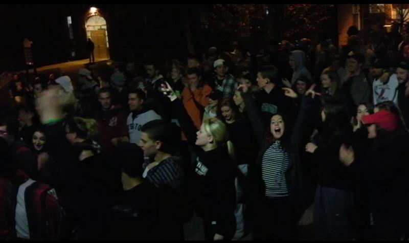 PSU Students Celebrate the Red Sox Win