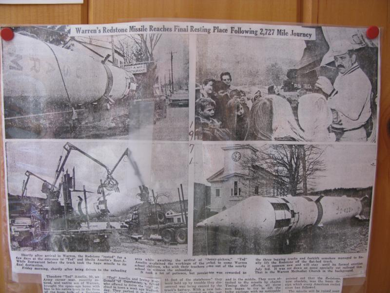 An old article on the raising of the Redstone Rocket in Warren