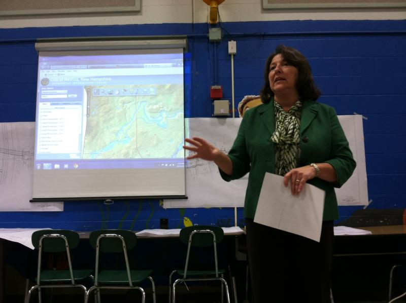 Nashua Mayor Donnalee Lozeau answers questions about the project at the meeting Monday.