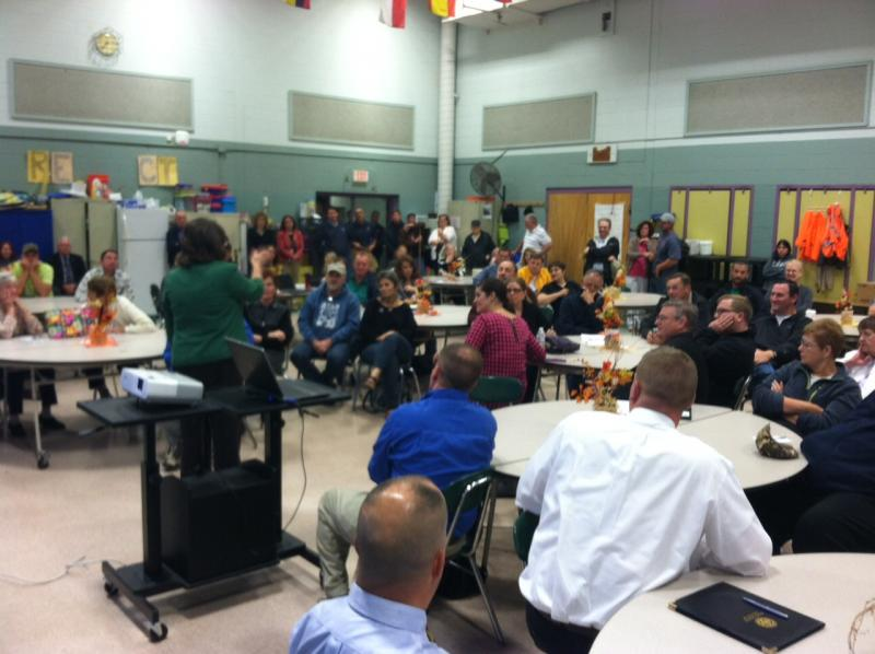 More than 100 people turned out for the community meeting on Monday.