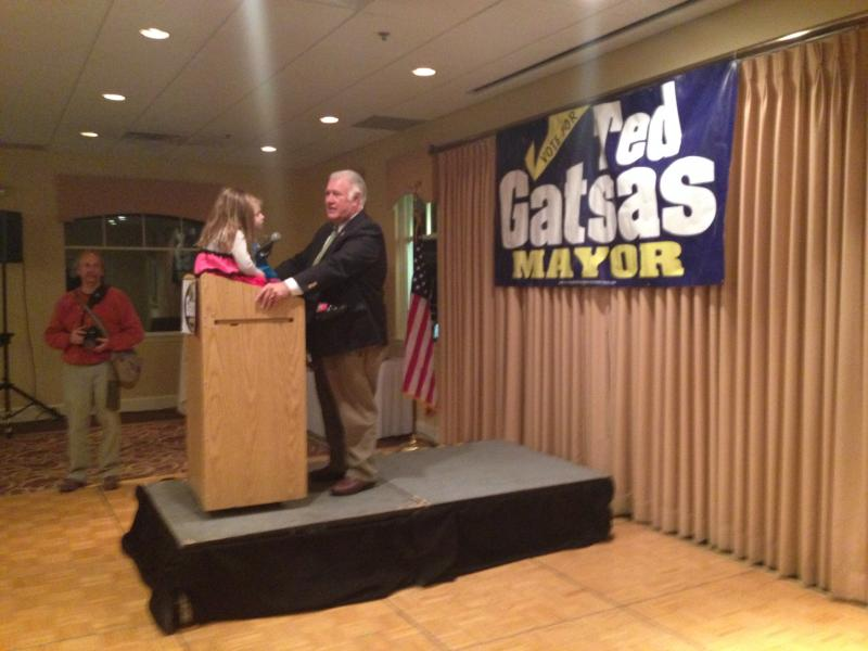 Gatsas' two grand nieces were sitting on the podium as he gave his victory speech.